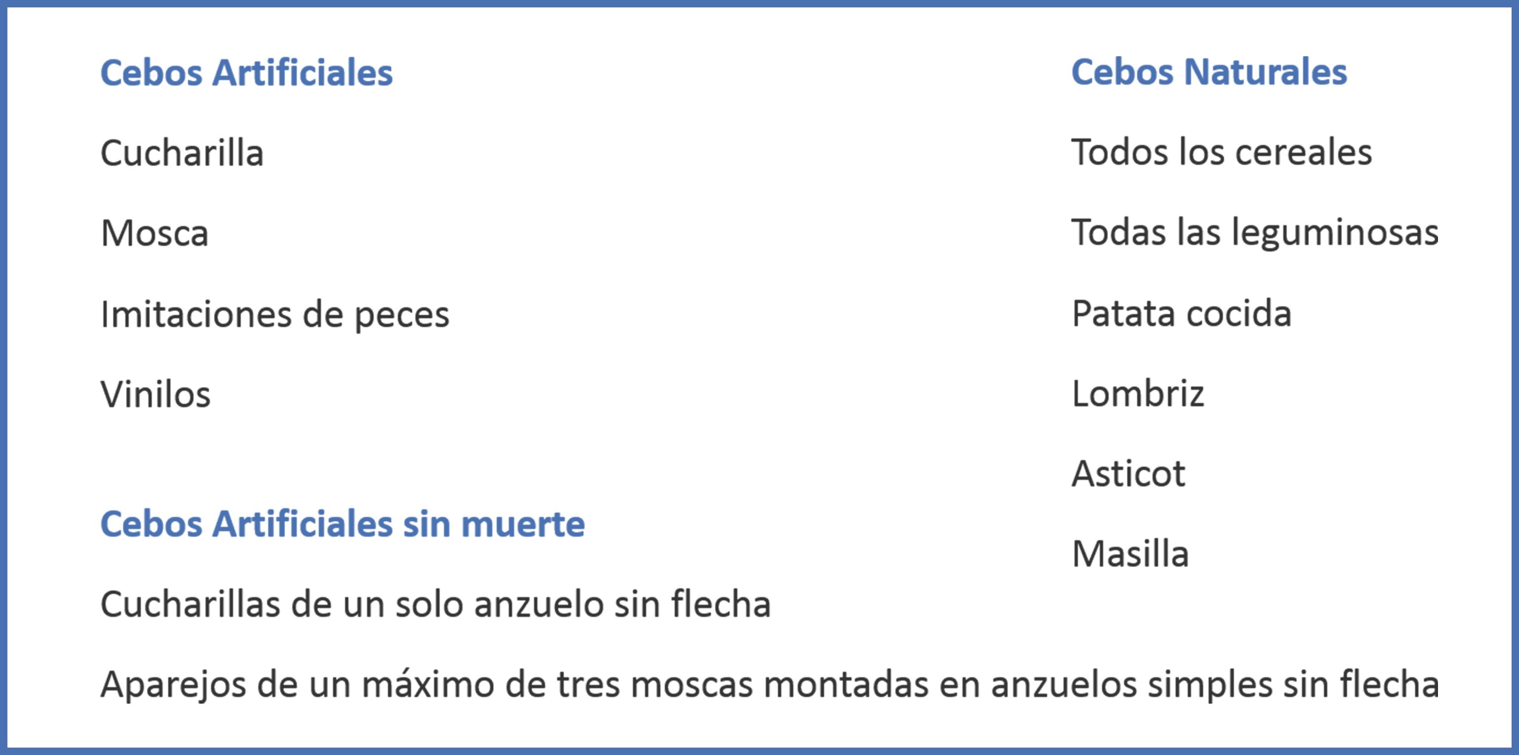 Cebos piscícolas permitidos en Andalucía